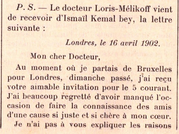 LETRA/ Çfarë i shkruante Ismail Qemali doktorit të tij Loris-Melikoff në prill të 1902